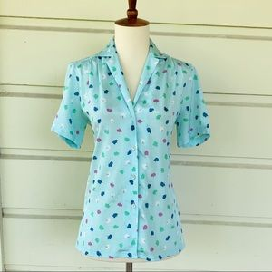 Vintage 60's Dalton Pastel Blue Printed Blouse
